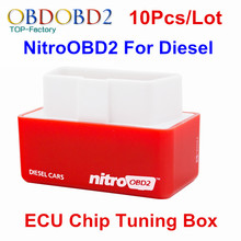 10pcs/Lot Car Diagnostic Auto ECU Chip Tuning BOX Nitro OBD2 Scanner For Diesel Cars Performance Engine Speed NitroOBD2