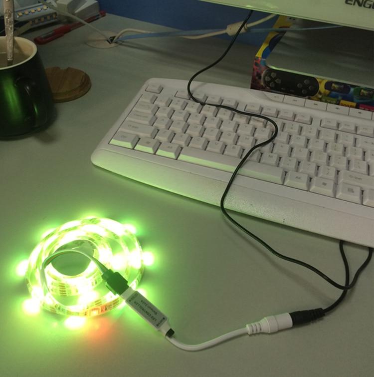 5M RGB LED Strip Waterproof tiras SMD 5050 LED Strip TV Tape Lighting 5V USB Computer Led Lighting with 24keys Remote Controller (6)