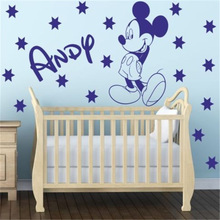 Personalized name MICKEY MOUSE with stars Wall Sticker for Kids Rooms Removable Children Soccer Decal Home Decor(China)
