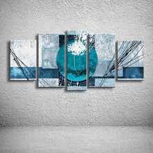 5 Panel Wall Pictures Hand Painted Geometric Blue Oil Painting Abstract Graffiti Line Acrylic Paintings Canvas Home Decor Art