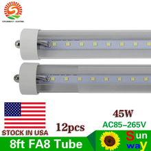 12-Pack 45W 8ft led tube lights T8 FA8 Single Pin LED Tube Light 8 ft LED Fluorescent Tube Lamps Dual-Ended Power Clear Cover(China)