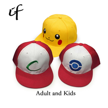 Kids Adult Pokemon Go Cosplay Cap Drake Hip Hop Pikachu Pocket Monster Bone Dad Hat Baseball Caps Charms Ash Ketchum Casquette(China)