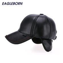 EAGLEBORN 2017 Brand Hot Sale Winter PU Leather Cap Men Black Color Winter Baseball Cap with Ear Flaps Adjustable 56-60cm 2 Colors(China)