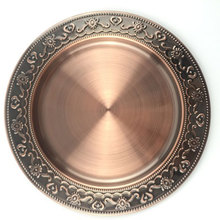 Visual Touch Stainless Steel Metal Plate Dishes Bronze Round Dish Serving Tray Charger Tea Cup Holder Dinnerware Snack Fruit(China)