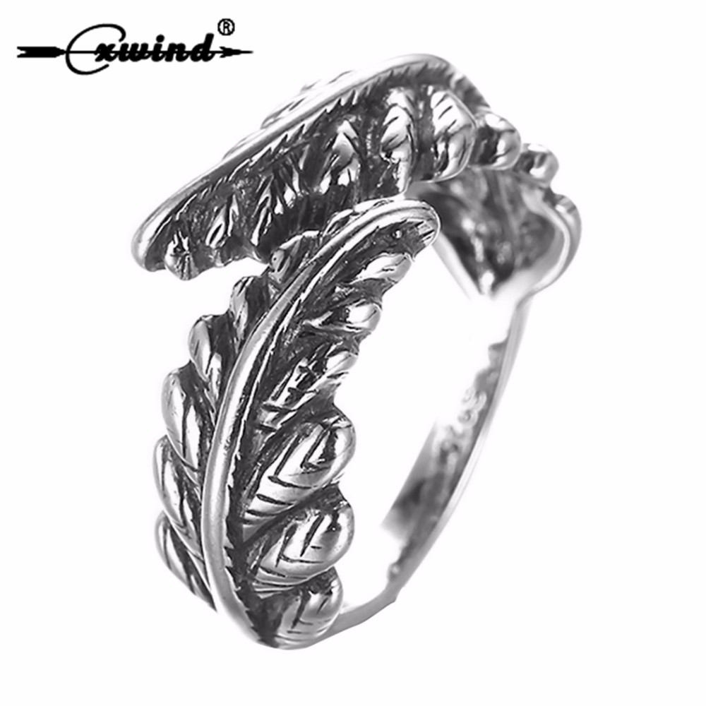 Cxwind New Arrival Adjustable Feather Ring VIntage Double Leaf Leaves Rings Jewelry For Man Woman Antique Silver Finger Bejioux