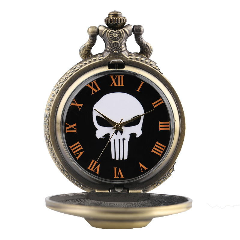 Punk Monster Pocket Watch Solid Skull Copper Sculpture Pendant Necklace Special Halloween Clock Unique Gifts for Boys Girls Teen (3)