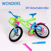 Mini Assembled Bike Bicycle With Basket For Doll Detachable Toy Accessories Children's Educational Toys(China)