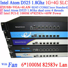 Intel Atom D525 Dual Core 4 Thread ROS PFSense Router Server with 6 LAN Ports Rack Eears