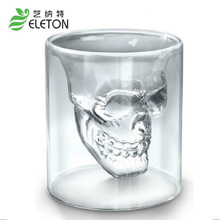 Skull Glass New Special Transparent Crystal Skull Head Shot Glass Cup For Whiskey Wine Vodka Home Drinking Ware Man Gift Cup(China)