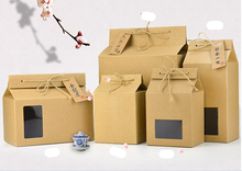 30pcs kraft Paper Bread nut bag Tea container snack rice biscuit Food storage Packaging Boxes with rope