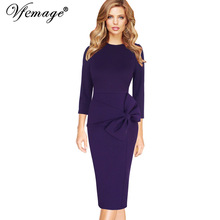 Vfemage Womens Celebrity Elegant Vintage 3/4 Sleeves Work Business Party Evening Formal Bodycon Midi Mid-Calf Sheath Dress 7915(China)