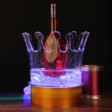2016 New Arrival Real Ice Buckets & Tongs Whiskey Stones Wine Rack Colorful Circular Led Wine Bar Ice Bucket Acrylic Crown
