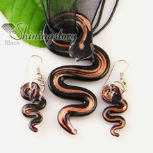 snake silver foil glitter blown lampwork murano glass pendants and earrings jewelry sets cheap fashion jewellery