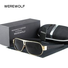 WEREWOLF Square Men Sunglasses Brand Designer Metal Frame Polarized Fashion EYEMATE Sun glasses women gafas de sol Good Quality