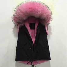 Pink short style Vest Real Mink fur collar Vest Jacket winter women coat sleeveless outwear warm plus size  Fur Hood Vest MZ1092