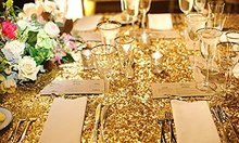Customize Order-Gold 24pcs 12x108in Sequin table Runner, 8pcs 125x180cm rectangle and 1 pc 275cm round gold sequin tablecloth