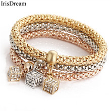 Hot Rose Gold Silver MultiLayer Cube Charm Bracelets For Women Austrian Crystal Bracelet Bangles Custom Roman Jewelry(China)
