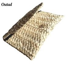 OUTAD Новый 2018 соломы трикотажные Для женщин клатч элегантные женские плетеные сумки конверт HASP пляжная сумка для дам(China)