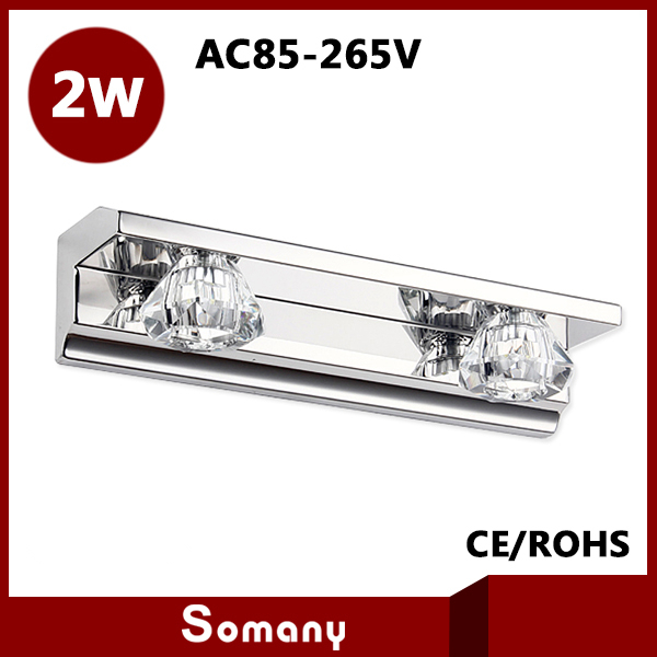2014 New Arrival High Quality Bedside Bathroom Wall Lamp AC85-265V Stainless steel 2w Crystal Bathroom Led Mirror Light CE&amp;ROHS<br><br>Aliexpress