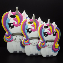 "Fashion 3D Cartoon Unicorn Silicon case for iPhone 4/4s/SE/5/5s/6/7/6s plus 4.7/5.5"" Cute Rainbow Horse Rubber cover phone cases"