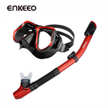 Enkeeo Snorkel Set with Tempered Glass Diving Mask and Dry Snorkel Underwater Hunting Diving Mask Scuba Snorkel Swimming Goggles(China)