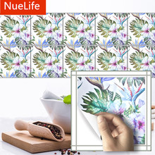 Tropical style palm leaf pattern tiles room kitchen bathroom wash station Home Furnishing decorative wall stickers