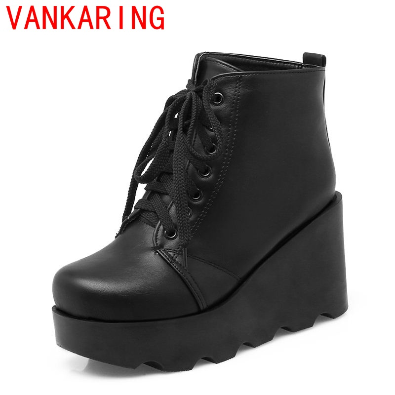 VANKARING shoes 2017 modern Urban fashion style concise modern round toe wedges elegant lace-up platform leisure ankle boots <br><br>Aliexpress