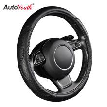 AUTOYOUTH PU Leather Steering Wheel Cover New Black Wavy Line Splice X-stitch Pattern Fits 38cm/15 inch For BMW Audi Ford Kia