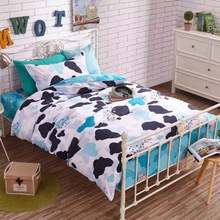 2017 new fashion 100% cotton Juvenile boy and girl bedding set duvet cover set lovely cartoon pattern kids bedding twin size(China)