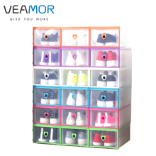 VEAMOR 1pc Women 's Drawer - style Transparent Shoe Box Thickened Plastic Boxes Shaped Heart -Type Shoe Storage Boxes B1142