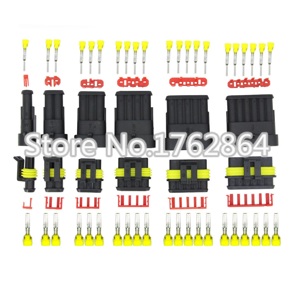60 sets contain (1+2+3+4+5+6P) AMP 1.5 Connectors male and female Plug, Automotive waterproof connectors Xenon lamp connector<br>