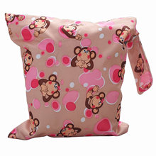 Best Sale Baby Toddler Waterproof Zipper Reusable Cloth Diaper Bag Monkey Pattern(China)