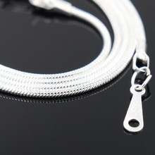 2016 aliexpress cheapest silver necklace 41cm  Lobster Clasp silver snake chain necklace for fashion women men