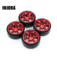 INJORA 4Pcs 1/10 Drift Car Tires Hard Tyre for Traxxas Tamiya HPI Kyosho On-Road Drifting Car Spare Parts(China)