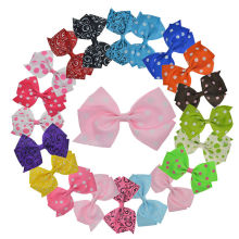 "20pcs 4.5"" Big Dot/ Floral Ribbon Pinwheel Hair Bows with Clip for Girls Kids Hair Clips Korea Hair Accessories XC1880"