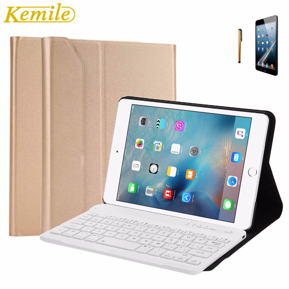 Kemile Removable Wireless Aluminum Alloy Bluetooth Keyboard Ultra Slim Magnetic Case Cover With Stand For iPad Mini 4 Keypad<br>