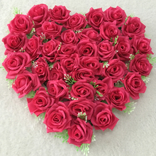 21 Colors 40cm*40cm Hot pink Lovely Heart Shape Rose Flowers for Wedding Car Wall Door Artificial Decorative Flowers Para Porta(China)