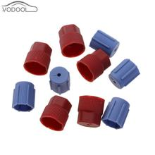 10Pcs Car A/C System Charging Port Service Cap R134a + High Low Side Caps (Red+ Blue) Automotive Air Conditioning Accessories(China)