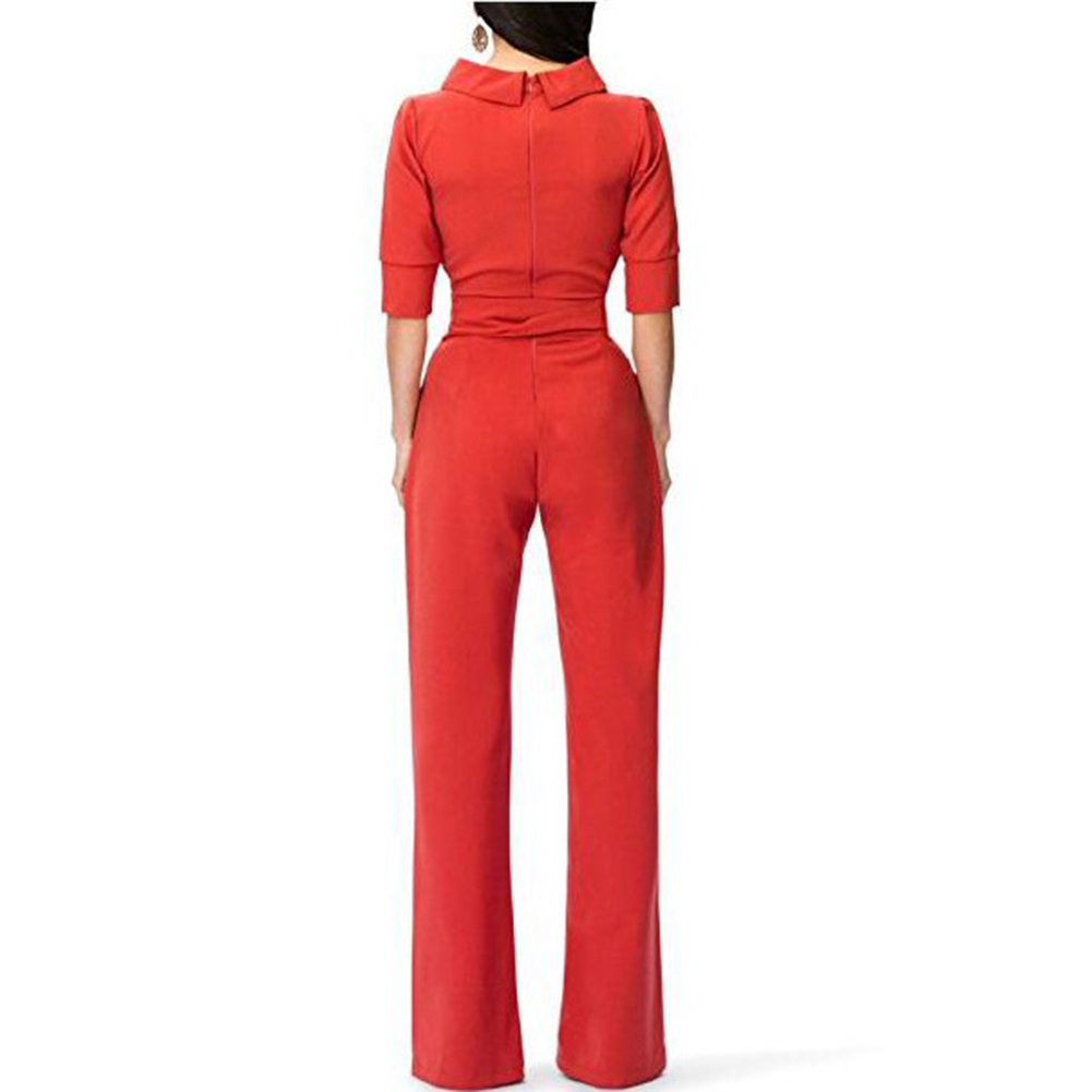 Anself Half Sleeve Ruffle High Waist Jumpsuits for Women 2018 Autumn Winter Overalls Solid Color Office Lady Wide Leg Rompers 13