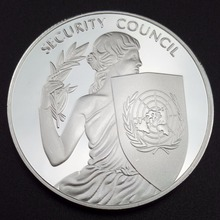 United Nations Security Council Silver 38mm Commemorative Coin Irene The Goddess Of Peace Souvenir(China)