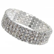 12393 Women's Silver Plated Crystal Rhinestone Bangle Party Jewelry Gift Cuff Bracelet