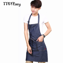 2017 New Hot Sale Aprons Cowboy Denim Simple Antifouling Uniform Unisex Aprons for Woman Men painting cafe Kitchen Chef Waiter