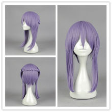 FREE SHIPPING ! ! ! Anime Style Long Bangs Cute Straight Weave Charming Dark Blue Wig(China)