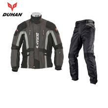 DUHAN Motorcycle Kits Moto Windproof Protective Jacket + Pants Hip Protector Motorcycle Riding Pants +jacket Suits Moto Jacket