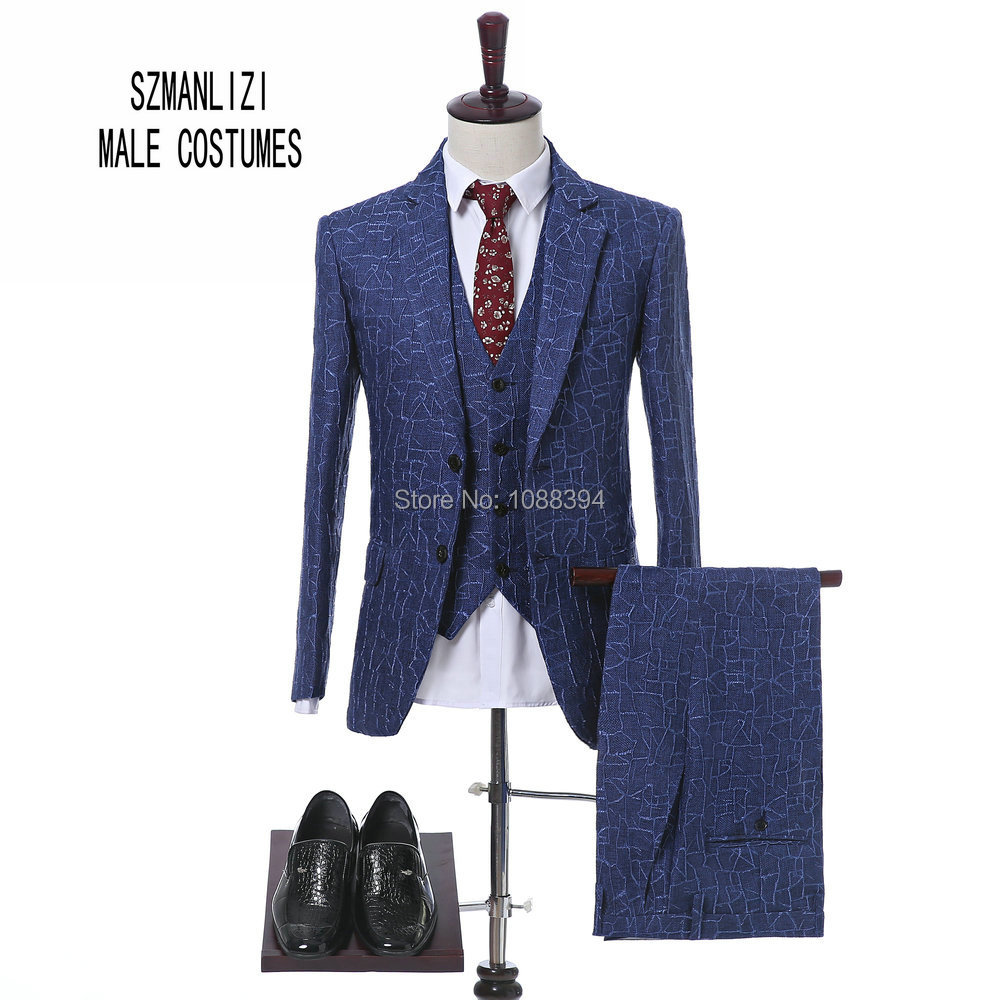 Blue Mens Plaid Suit 2018 Terno Slim Fit Prom Dress Wedding Suits For Men Groomsmen Business Formal Suits 3 Piece Groom Tuxedos