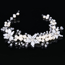 Handmade Bride Hair Accessories White Flower Pearl Wedding Head Piece Crystal beads Hair Jewelry Bridal Headpieces(China)