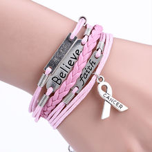 Customizable- Believe & Faith Hope Breast Cancer Awareness Bracelet leather bracelet Christmas Gift -Drop Shipping