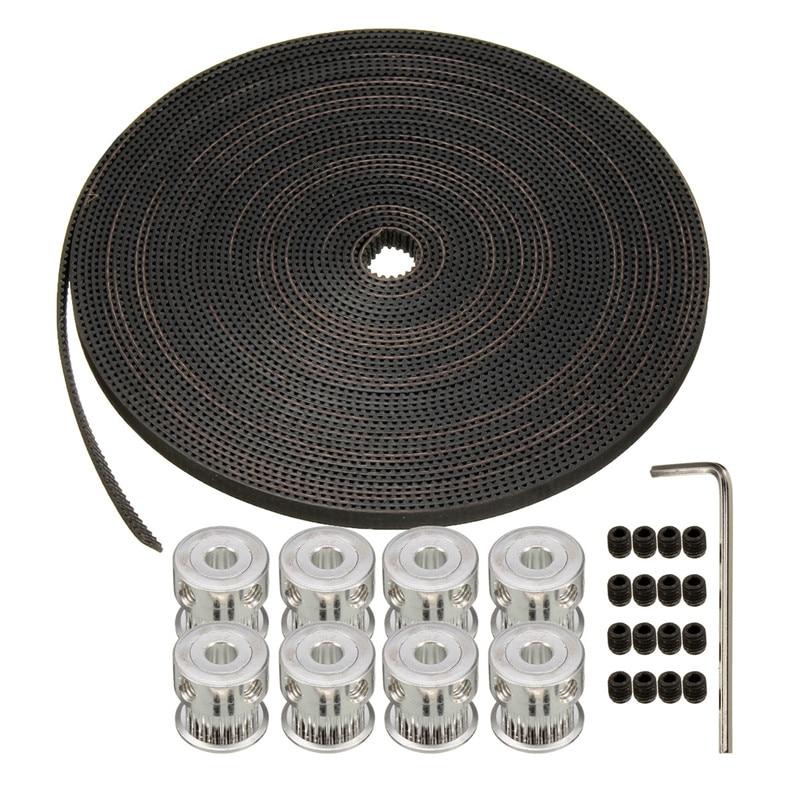 Newest 8pcs 20Teeth GT2 Pulley 5mm Bore+10M(33)  6mm GT2 Belt 3D Printer Parts RepRap Prusa<br><br>Aliexpress
