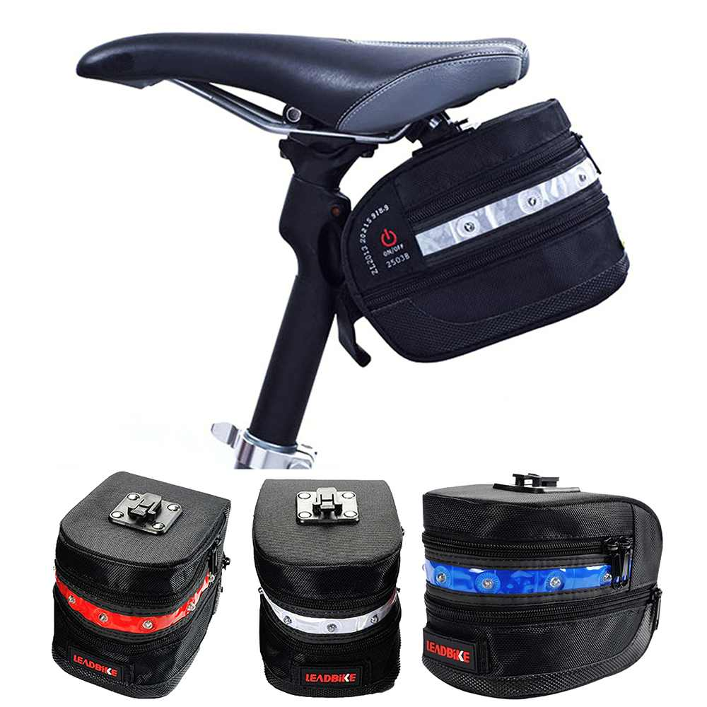 Bicycle Saddle Bags Waterproof 7 Led MTB Mountain Bicycle Seat Bag Bike Seat Pack Seat Tail Pouch Rear Package Pouch
