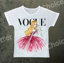 Track Ship + Vintage Retro T-shirt Top Tee Vogue Pink Clothes Elegant Golden Hair Princess Girl 0933(Hong Kong)